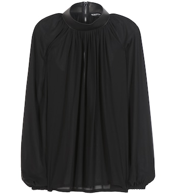 Tom Ford - Leather-trimmed silk blouse - mytheresa.com
