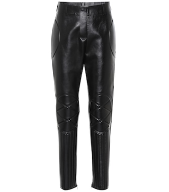 Bottega Veneta - High-rise skinny leather pants - mytheresa.com