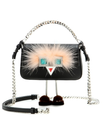 Fendi - Micro Baguette fur-trimmed leather shoulder bag - mytheresa.com