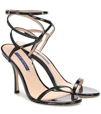 Stuart Weitzman - Merinda patent leather sandals - mytheresa.com