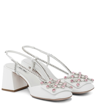 Miu Miu - Embellished leather slingback pumps - mytheresa.com