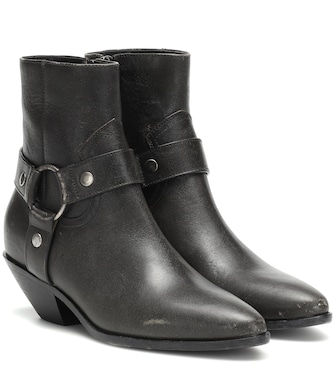 Saint Laurent - West Harness leather ankle boots - mytheresa.com
