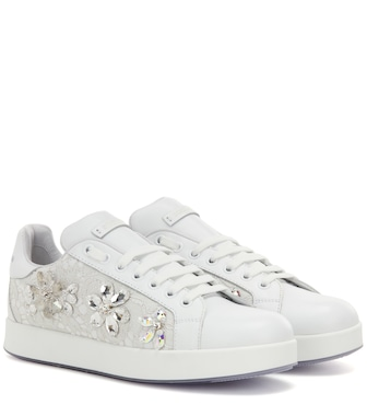 Dolce & Gabbana - Embellished leather sneakers - mytheresa.com