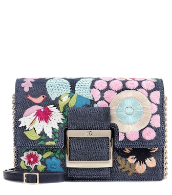 Roger Vivier - Micro Viv' embroidered denim shoulder bag - mytheresa.com