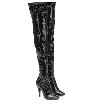 Saint Laurent - Aylah vinyl over-the-knee boots - mytheresa.com