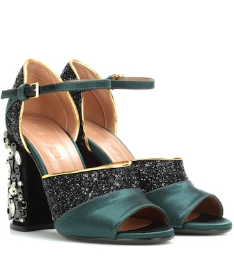 Marni - Glitter and satin sandals - mytheresa.com