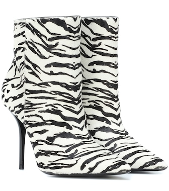 Saint Laurent - Printed leather ankle boots - mytheresa.com