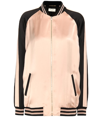 Saint Laurent - Oversized Teddy Baseball satin jacket - mytheresa.com