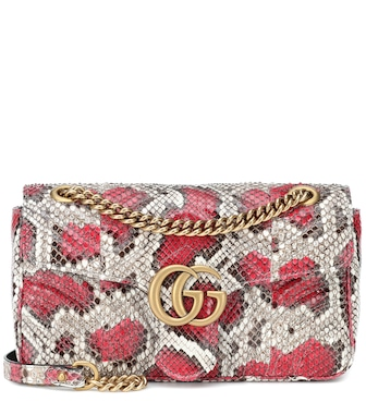 Gucci - GG Marmont Small python shoulder bag - mytheresa.com
