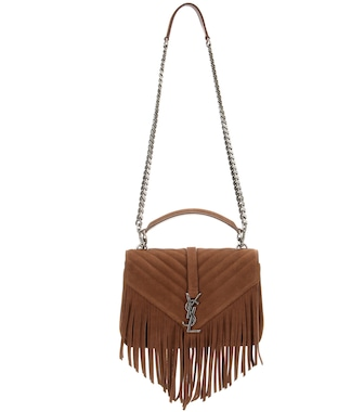 Saint Laurent - Classic Monogram fringed suede shoulder bag - mytheresa.com
