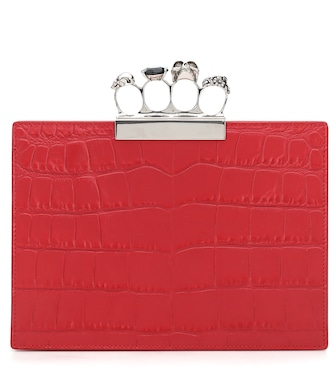 Alexander McQueen - Jewelled Small Four-Ring leather clutch - mytheresa.com