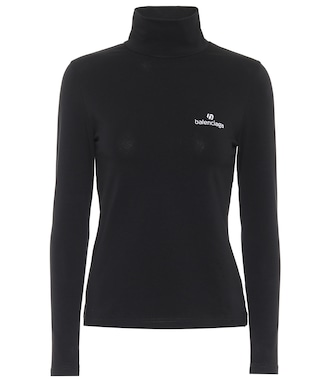 Balenciaga - Logo stretch-cotton turtleneck top - mytheresa.com