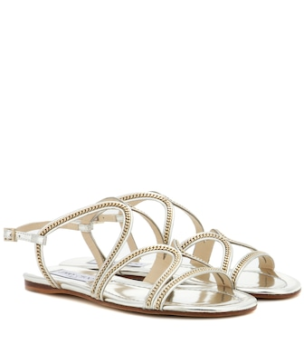 Jimmy Choo - Nickel Flat embellished metallic leather sandals - mytheresa.com