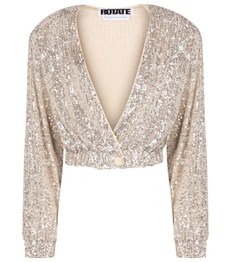 ROTATE BIRGER CHRISTENSEN - Judy sequined cropped jacket - mytheresa.com
