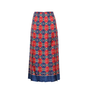 Gucci - Printed pleated silk midi skirt - mytheresa.com