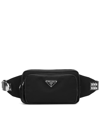 Prada - Leather-trimmed belt bag - mytheresa.com