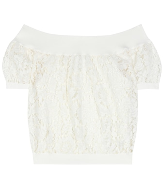 Valentino - Lace off-the-shoulder top - mytheresa.com