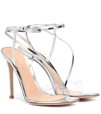 Gianvito Rossi - Plexi and metallic leather sandals - mytheresa.com