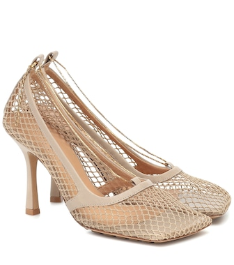 Bottega Veneta - Leather-trimmed stretch-mesh pumps - mytheresa.com