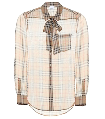 Burberry - Check silk blouse - mytheresa.com