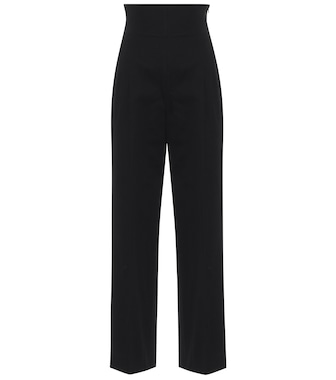 Alaïa - High-rise cotton straight pants - mytheresa.com