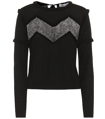 Valentino - Lace-trimmed wool sweater - mytheresa.com