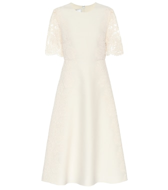 Valentino / Garavani - Valentino lace-trimmed wool and silk dress - mytheresa.com