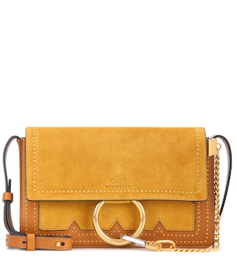Chloé - Faye Small suede and leather crossbody bag - mytheresa.com