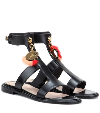 Fendi - Fur-embellished eather sandals - mytheresa.com