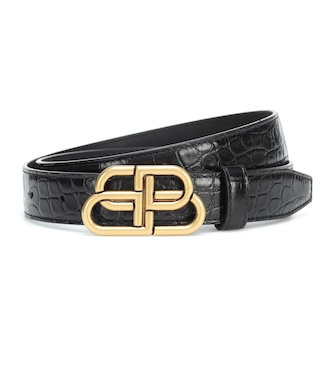 Balenciaga - BB croc-effect leather belt - mytheresa.com