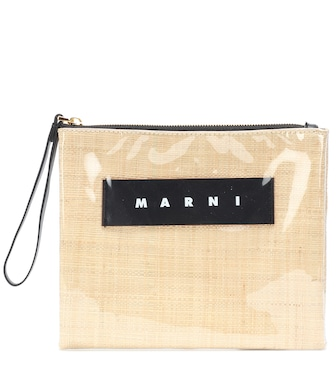 Marni - Glossy Grip canvas clutch - mytheresa.com