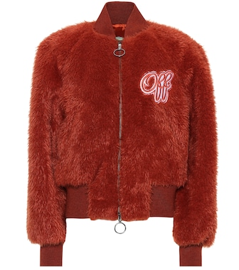 Off-White - Embroidered faux fur bomber jacket - mytheresa.com