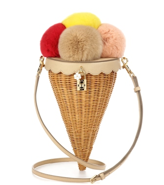 Dolce & Gabbana - Rattan, fur and leather shoulder bag - mytheresa.com