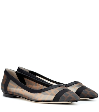Fendi - Leather-trimmed ballet flats - mytheresa.com