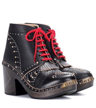 Burberry - Embellished leather ankle boots - mytheresa.com