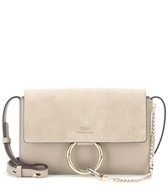 Chloé - Faye Small leather and suede shoulder bag - mytheresa.com