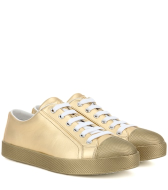 Prada - Metallic leather sneakers - mytheresa.com