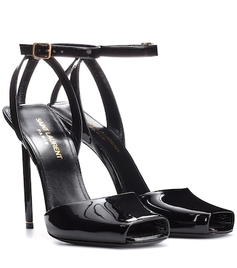 Saint Laurent - Edie 110 patent leather sandals - mytheresa.com