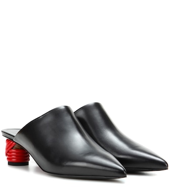 Balenciaga - Bistrot leather mules - mytheresa.com