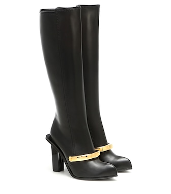 Alexander McQueen - Peak leather knee-high boots - mytheresa.com