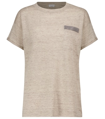 Brunello Cucinelli - Embellished linen and cotton T-shirt - mytheresa.com