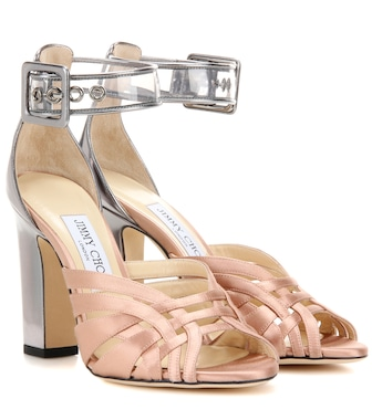 Jimmy Choo - Tristen 100 satin and leather sandals - mytheresa.com