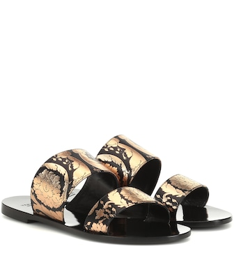 Versace - Printed leather sandals - mytheresa.com