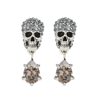 Alexander McQueen - Silver-toned skull earrings with rhinestones - mytheresa.com