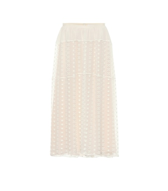 Chloé - Embroidered silk crêpon midi skirt - mytheresa.com