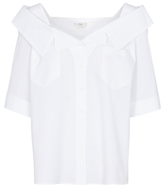 Fendi - Off-shoulder cotton shirt - mytheresa.com