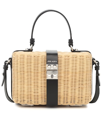 Prada - Wicker and leather shoulder bag - mytheresa.com