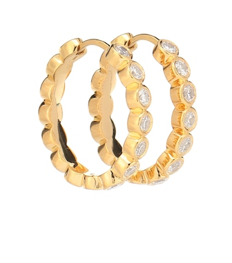 THEODORA WARRE - Medium gold-plated hoop earrings - mytheresa.com