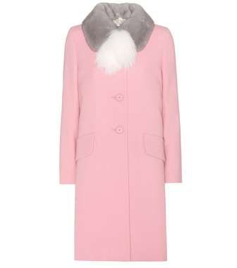Miu Miu - Virgin wool coat with fur - mytheresa.com
