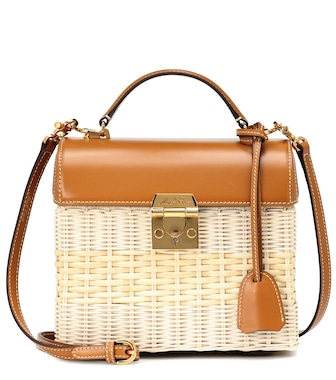 Mark Cross - Sara leather and rattan tote - mytheresa.com